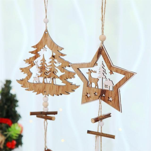 christmas supplies wooden five pointed star ornaments hemp rope pine fruit christmas tree decorations pendant