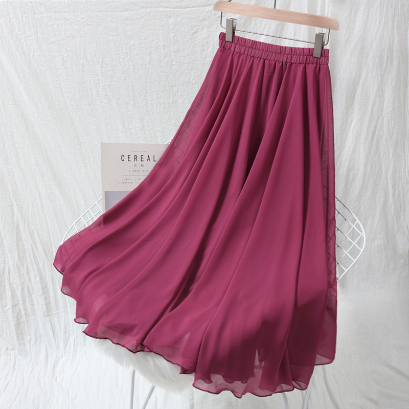 Chiffon Women Skirts Solid Pleated Loose A Line Long Female Skirts High Waist Bohemian Style Beach Holiday Lady Skirts