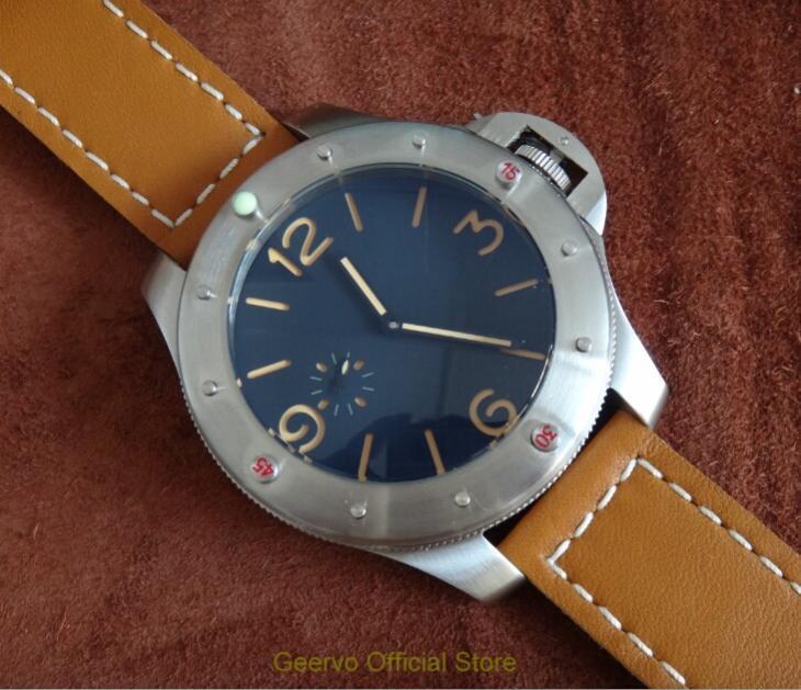 60mm grand cadran noir GEERVO asiatique 6497 17 bijoux mécanique main vent mouvement montre pour hommes lumineux mécanique montre-bracelet es121a