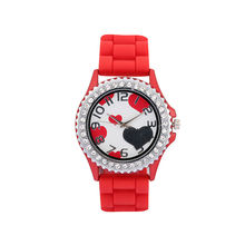 Tada Brand Fashion Lover s Heart Dial Ladies Elegant Diamond Dress Watch Silicone Women s Bracelet