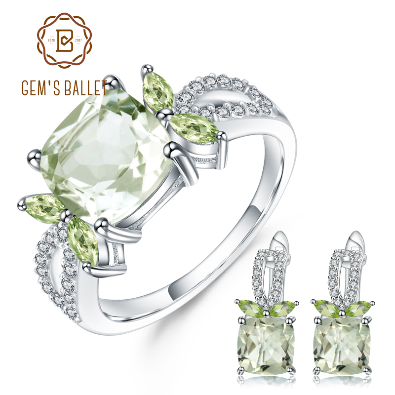 GEM S BALLET 925 Sterling Silver Gemstone Jewelry Set 7 64Ct Natural Green Amethyst Earrings Ring