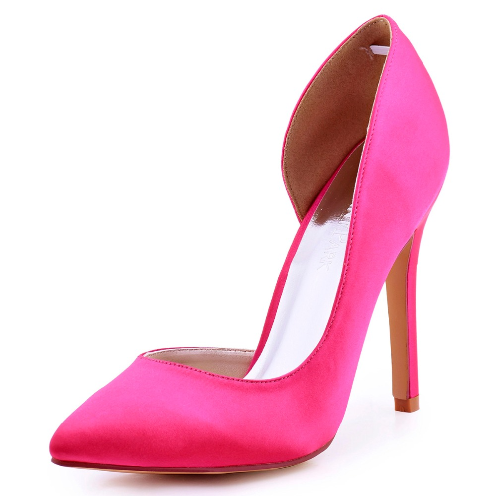 HC1601 Hot Pink Women Burgundy Bride Dress Prom Court Pumps Pointed Toe D'orsay Stiletto Heels Satin Wedding Party Bridal Shoes hc1610 burgundy women bride bridesmaids dress court pumps pointed toe d orsay stiletto heels buckle satin wedding bridal shoes