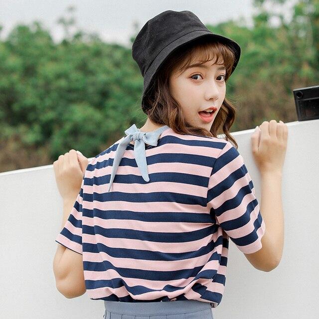 Harajuku kawaii amigos camiseta estilo coreano roupas femininas moda verão 2019 bandagem doce do vintage arco tarja mulheres superiores camiseta
