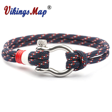 New Fashion Charm Paracord Bracelet Navy Style  Braided Rope Stainless Steel Buckles Survival Bracelets for Men Women Pulseras
