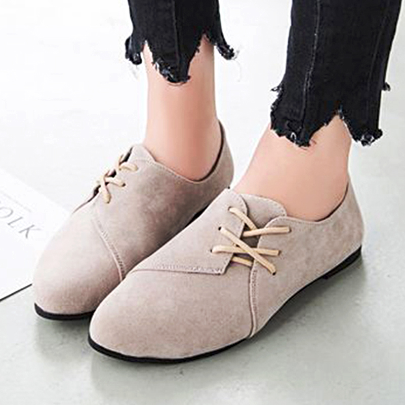 2017 Fashion Loafers Women Flat Shoes Spring Women Casual Shoes Nubuck Leather Lace Up Round Toe