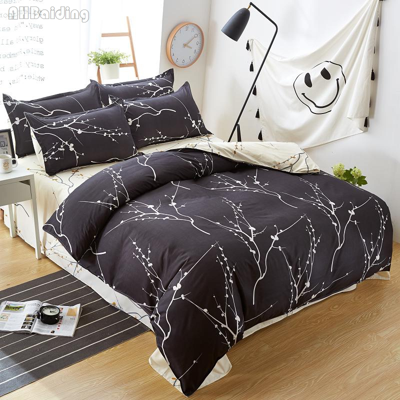 Black White Plum Flower Bedding Set Adult Kids Bed Linen Bedclothes 3/4pcs Bedding Queen King Size Duvet Cover Set Home Textile