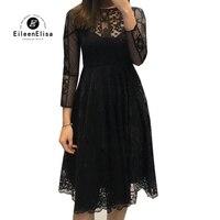 Женское платье Весна элегантное черное кружевное платье с длинным рукавом Белое Кружевное платье повседневное Vestidos