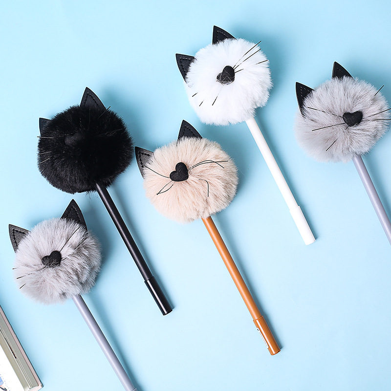 Fluffy Plush Cat Love Heart Nose Black Ears Gel Ink Pen Signature Pen Escolar Papelaria School Office Supply Promotional Gift