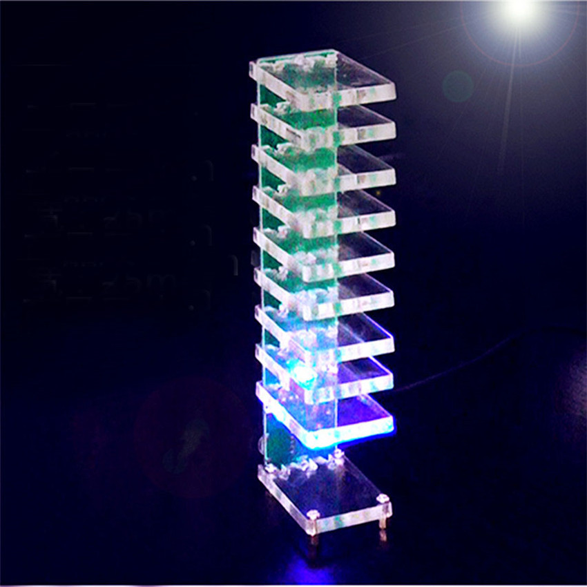 Cheap Price Single-chip Optical Cube Kit Electronic Diy Production Parts Led Music Spectrum 21-segment Audio Light Column Light-up Toys