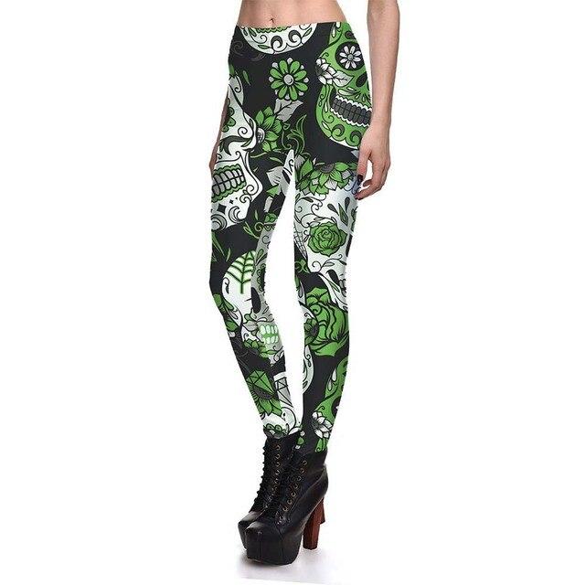 Autumn Plus Size Women Slim Sport Fitness 3D Skull Flower Leggings Digital Print Pant Stretch Trousers