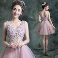 Robe de soiree 2016 V- neck sleeveless lace up ball gown short evening dress vestido de festa prom dresses plus size 3 colors