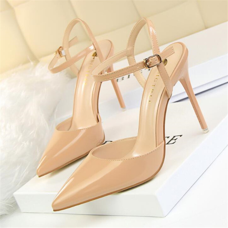 Elegant Crystal Pointed Toe Wedding Shoe Women 39 s Pumps Solid Flock Fashion Buckle Shallow High Heels Shoes for Women Sandals in High Heels from Shoes