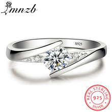 Купить с кэшбэком Lose Money Sale! LMNZB Original 925 Solid Silver Ring Bride Jewelry 0.5 Carat Diamant Wedding Rings for Women L-R5036