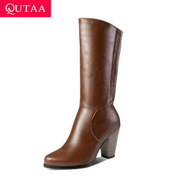 QUTAA 2020 New Autumn Winter Warm Fur Concise Mid Calf Boots PU Leather Square High Heel Zipper Fashion Women Boots Size 34-43