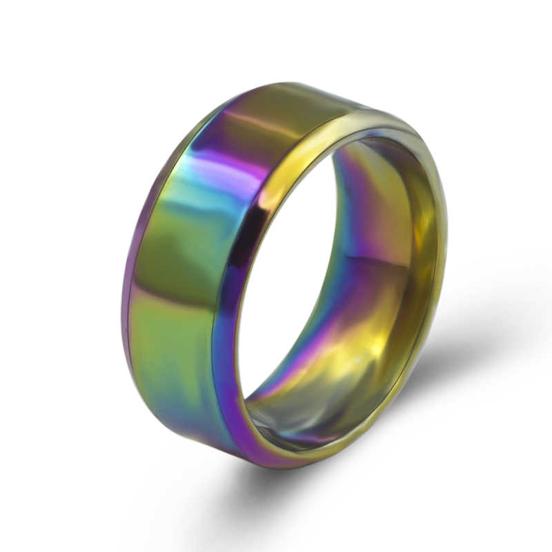 Stainless steel Rainbow Rings 2018 fashion colorful Rings For Women