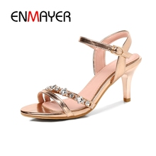 ENMAYER Rhinestone shoes Women Peep Toe Sandals Sapato feminino Med Heels Patent Leather Fashion Party Shoes Big size34-43 CR153