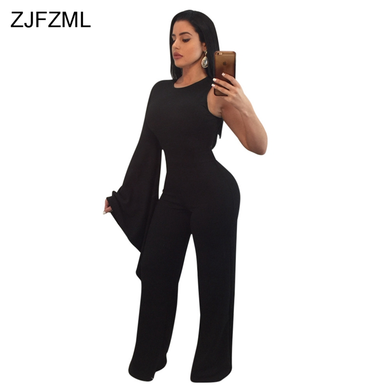 ZJFZML Long Flare Sleeve Sexy Party Jumpsuit Women Sleeveless Round Neck Bodycon Romper Solid Ladies Back Zipper Wide Leg Overll