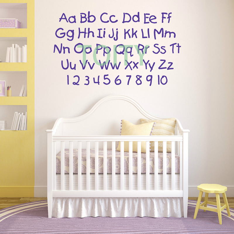 ALPHABET AND NUMBERS Nursery Letters Childrens Room VINYL WALL ART STICKER  DECAL Decor Mural H57cm X W99cm In Wall Stickers From Home U0026 Garden On ... Part 58