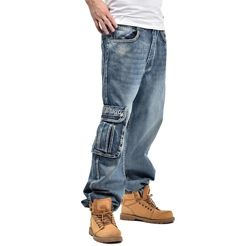 Plus Size Mens Jeans Hip Hop Jeans Baggie Cargo Trouser Baggy Casual Pants 30-46