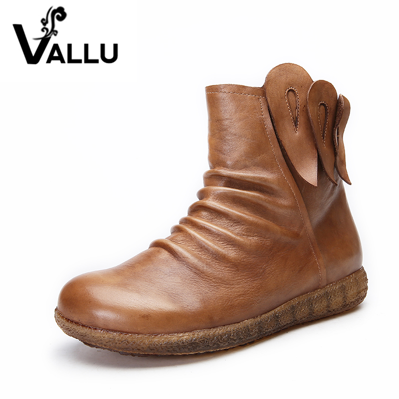 VALLU 2017 Handmade Shoes Women Flat Boots Genuine Leather Pleated Round Toes Vintage Women Ankle Boots handmade genuine leather boots vintage national trend women boots twiddlefish platform flat heels boots women shoes