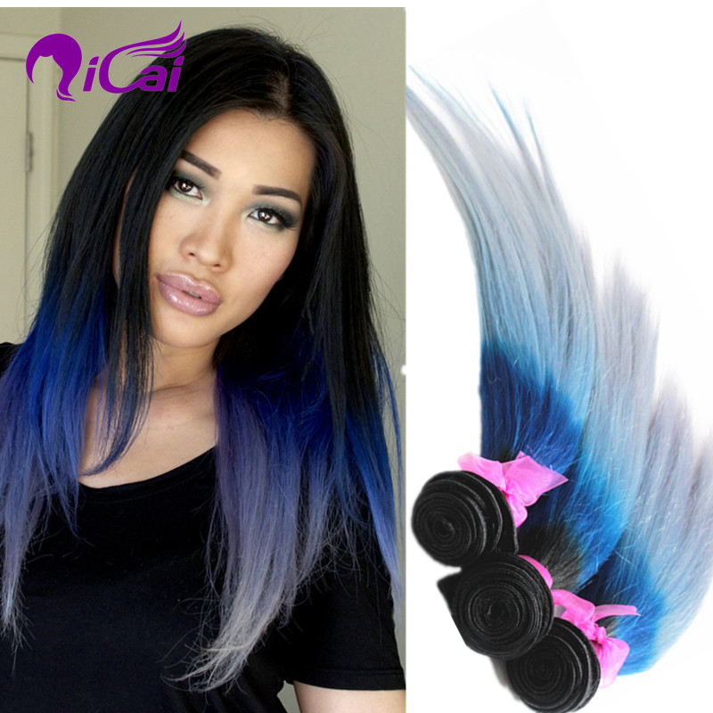 Ombre 3 Tone 1b Blue Silver Grey Hair Weave European Virgin Remy