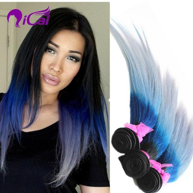 Ombre 3 Tone 1b Blue Silver Grey Hair Weave European Virgin Remy