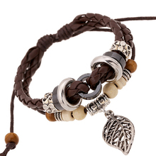 B01378 Handmade Boho Gypsy Hippie Black Brown Leather Leaf Metal Charms Hematite Wood Button Beads Wrap Unisex Couple Bracelets