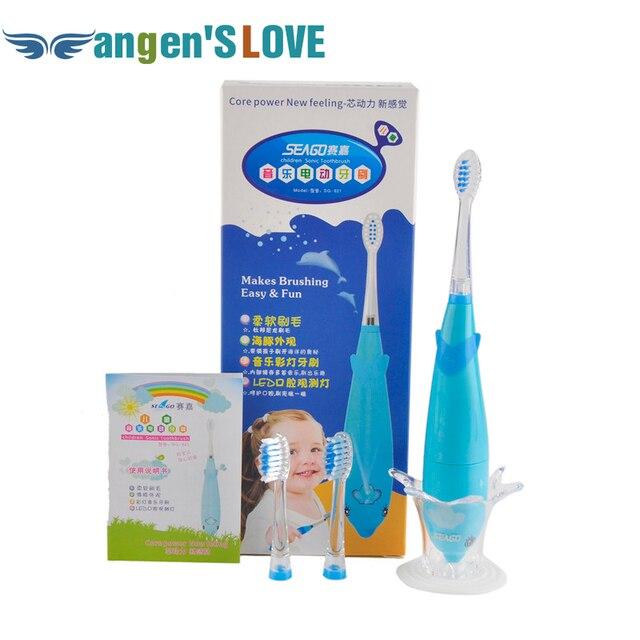 Delfín de la historieta niños cepillo de dientes eléctrico música cepillo de dientes niños Sonic cepillo de dientes eléctrico + 3 cabezas SG-621