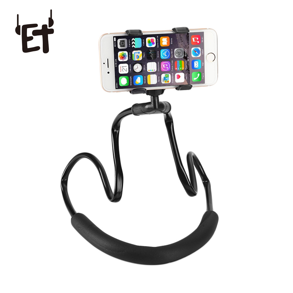 ET Neck Hanging Phone Stand Holder 360 Degree Rotation Smartphone Bracket Flexible Selfie Holder for iPhone X 8 7 Samsung S8 S9