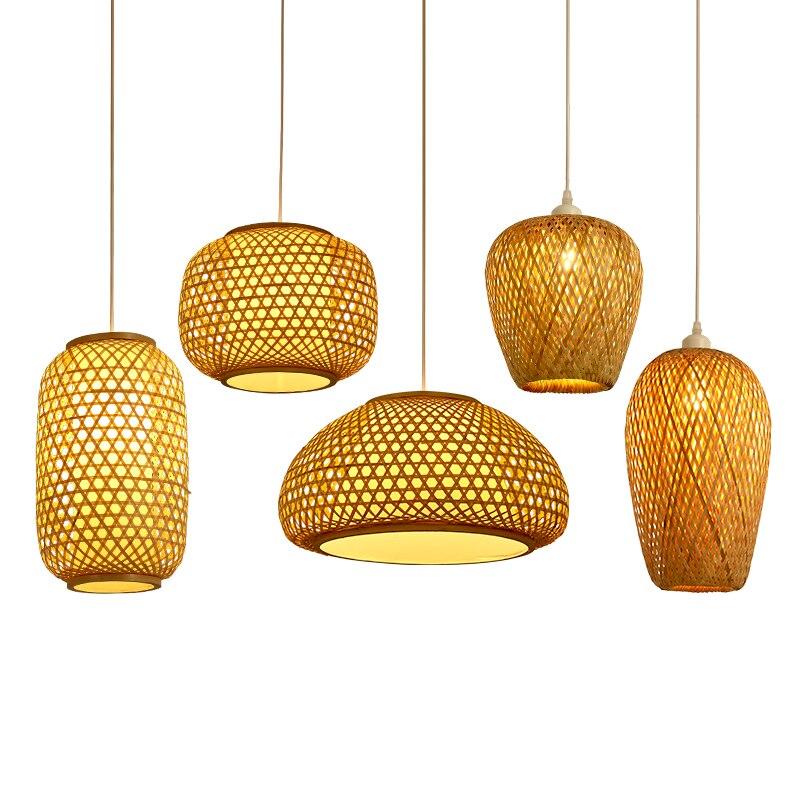 Здесь можно купить  Japanese style Pendant Lights hand-woven bamboo vine Suspension Luminaire restaurant decorative E27 lighting Fixtures  Свет и освещение