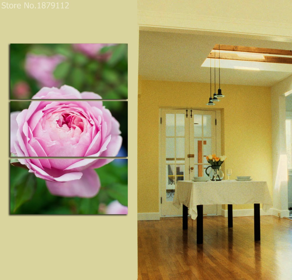 Wall Canvas Art Print Painting Poster 3 Panels Hibiscus Pink Flower ...