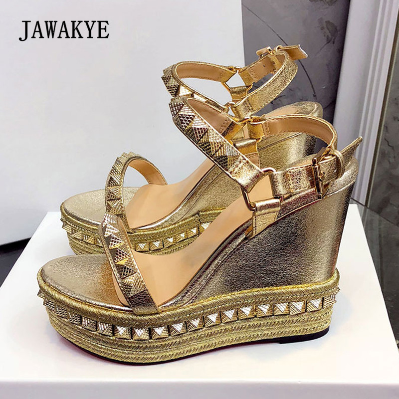2018 Sexy Platform Sandals Women Open Toe Rivet Mixed Color Wedges Shoes For Women Runway High Heels2018 Sexy Platform Sandals Women Open Toe Rivet Mixed Color Wedges Shoes For Women Runway High Heels