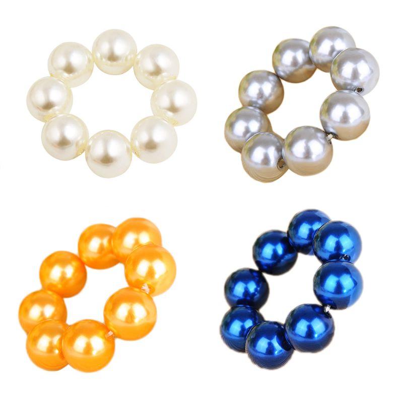 1 Pc Damen Frauen Luxus Big Imitation Perle Haar Seil Glitter Schmuck Donut Pferdeschwanz Halter Casual Hochzeit Haarband Buy One Give One