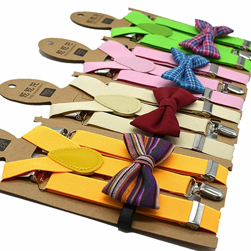 Kids suspenders bow tie set adjustment length high elasticity 80-130 cm height boys girls trouser suspender stylish style