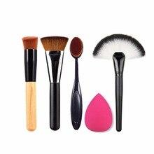 New 5pcs Makeup Brush Powder Blush Foundation Brush Sponge Puff Contour Brush worldwide sale top quality