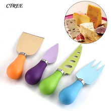 CTREE 4pcs/Set Colored PP Handle Cheese Food Stainless Steel Baking Tools Handle Cheese Pizza Cutter Kitchen Accessories C479 camvate qr top cheese handle with 70mm nato rail