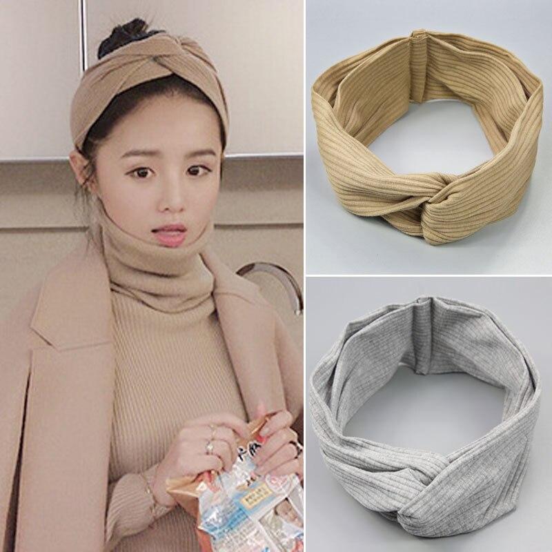 2017 New Design Wide Headbands Hairbands Hair Holders Stars Fabric Cross Knot Hair Accessories Fashion   Headwear   Korean Bandanas