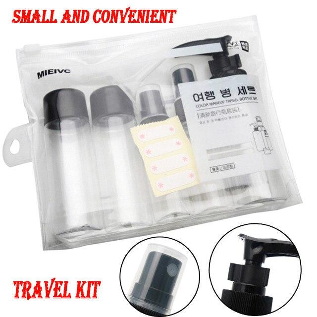 7 unids/set Paquete de botellas de tamaño de viaje portátil envases líquidos champú crema cosméticos botellas refilables Envío Directo