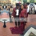 Sirena Vestido de Fiesta Africana de Espalda de Manga Larga Ver A Través de barco Cuello Largo Moldeado Escarpado Estiramiento de Satén de Borgoña Vestidos de Baile 2017
