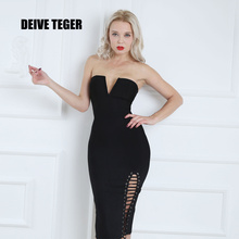 DEIVE TEGER 2017 Summer side vent Sexy strapless woman black bandage mid-calf Dress party Bodycon vestidoes dresses HL2517(China)