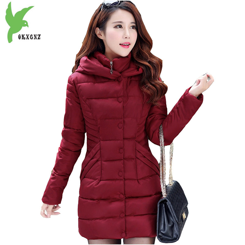 Winter Women's Cotton Jackets New Fashion Hooded Warm Coats Solid Color Thicker Casual Tops Plus Size Slim Outerwear OKXGNZ A735  olgitum 2017 women vest jackets new fashion thickening solid casual cotton fashion hooded outerwear