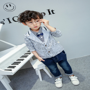 Image 4 - toddler boys clothing 3 pieces/set childrens wear Korean version fall clothing house print jacket + t shirt + jeans baby suit