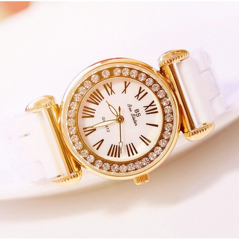 Women Quartz  Watches Ceramic Watchband  Fully Rhinestone Lady  Wristwatch High-end Custom Linked List Watch