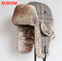 PJ.SDZM New Winter Bomber Hats Wool Winter Warm Aviator Russian Cap Outdoor Faxu Fur Ear Flaps Bomber Cap Windproof Trapper Hat