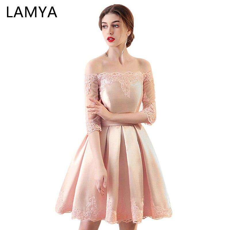 LAMYA 6 Colors Customized Cheap A Line Short Satin   Prom     Dresses   With Sleeve 2018 Plus Size Formal Party   Dress   Vestidos De Novia