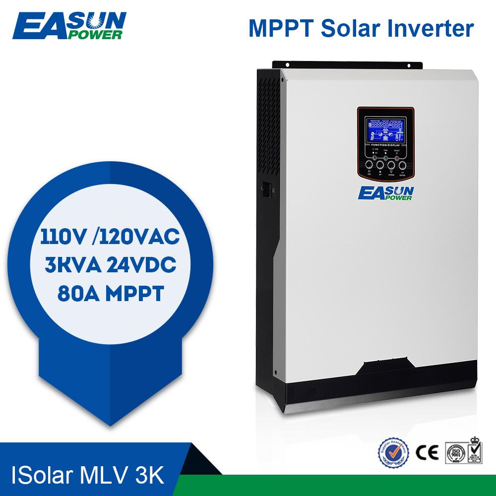 EASUN POWER 110V Solar Inverter Hybrid 3Kva 2400W Off Grid Inverter 24V 120V 80A MPPT Pure Sine Wave Inverter 60A AC Charger