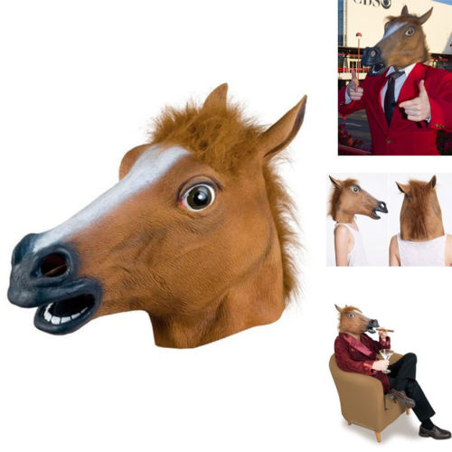 wholesale and retail fashion halloween party horse mask with brown color for party mask halloween horse