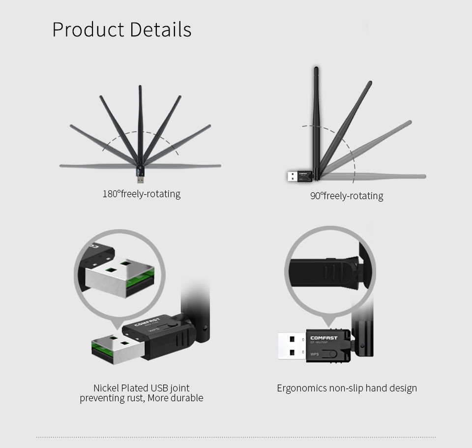 Image 5 - 150mbps USB WiFi Adapter 5dBi Antenna Dongle RTL8188EUS Mini Wireless Network LAN Card 802.11n/g/b for Windows 7 XP Vista Linux-in Network Cards from Computer & Office