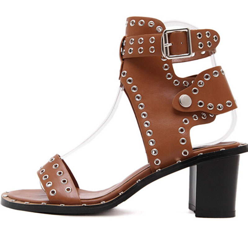 ФОТО fashion women Roman high-heeled shoes Luxury sexy rivets leather buckle sandals summer Ladies thick platform high heels shoes