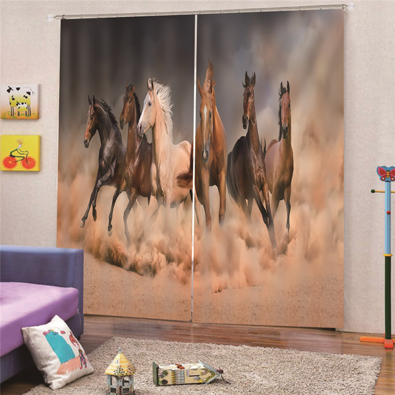 3D Digital Print Horse Tailor-Made Embroidered Modern Blackout Curtains For Window Floral Living Room Bedroom Drapes M21